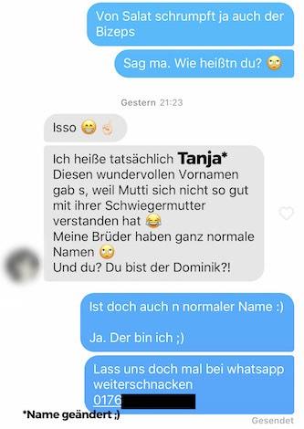 Tinder Tipps - Telefonnummer Whatsapp 1